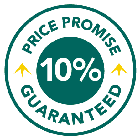 Price promise - any price beaten by 10%